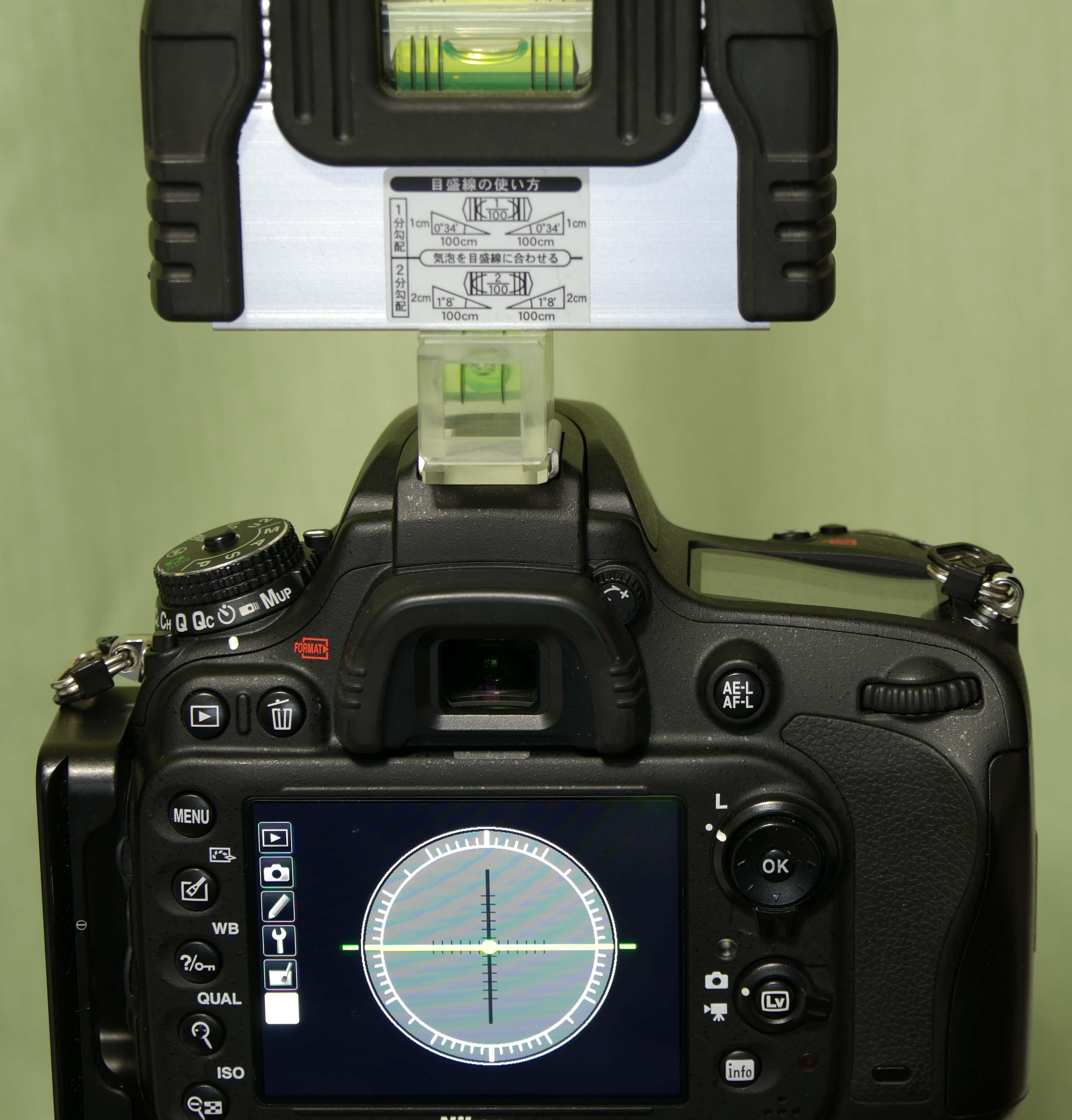 水準器 カメラ内蔵 外付け 比較